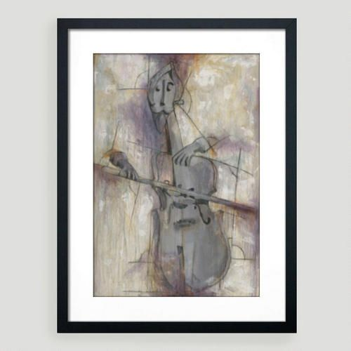 Using his signature style of mixed media justin garcia captures a cello player with abstract form in his painting titled the cellist