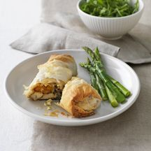 Chicken, roasted pumpkin, spinach and feta filo parcels