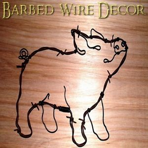 PIG-Country-Western-Barbed-Wire-Art-Wall-Sculpture-Farm-Ranch-Little-pig