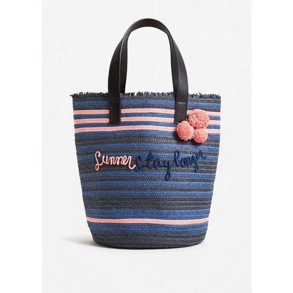 Message Straw Basket Bag (5230 RSD) ❤ liked on Polyvore featuring bags, handbags, straw handbags, mango purse, embroidered purse, mango bags and mango handbags