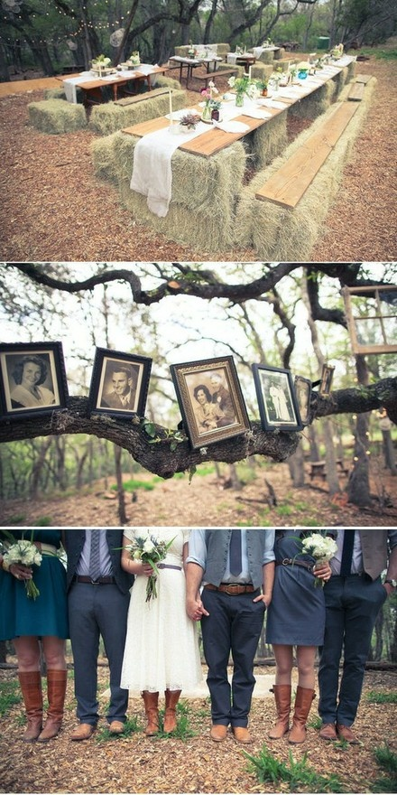 Neat country wedding , love the hay with wood for seating