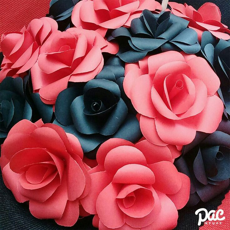 Black and red rose paper flowers