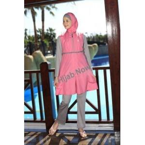 Islamic modest swinwear in pink and grey from www.hijabnow.com