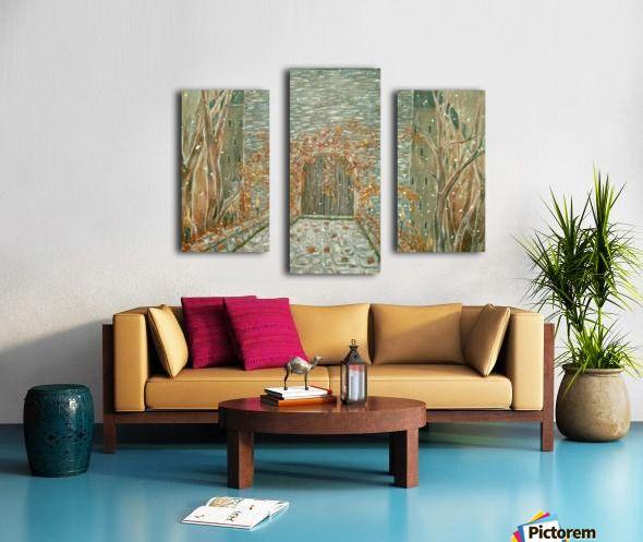 Medieval, atrmosphere, painting, castle, gate, triptych