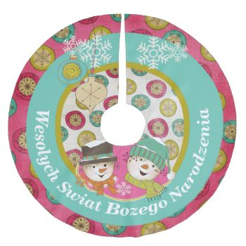 Say Merry Christmas in Polish with this colorful, fun holiday tree skirt featuring snowflake orbs on hot pink, a row of aqua blue, snowflake orbs on white, a snowman couple wearing hats, scarves, and carrot noses, a few white snowflakes, and white text that reads Wesolych Swiat Bozego Narodzenia! #christmas #holiday #dotted #snowmen #snowman #cultures #poland #polish #merry #christmas #wesolych #swiat #snowflakes #vintage #xmas #family #bright #cheery #winter #country