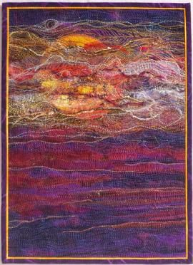 """""""Devonshire Moors"""" art quilt wall hanging by Wendy Read."""