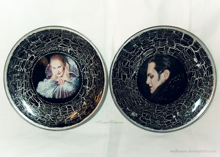 Von Krolock Family's Plates. Decoupage of plates with the photos of Kirill Gordeev and Ivan Ozhogin (Herbert and Graf von Krolock from the Russian production of the musical Tanz der Vampire).