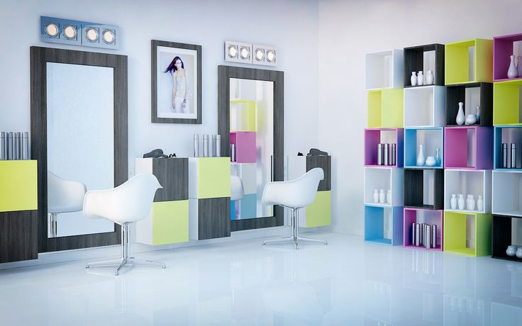 TETREES furniture fits perfectly in this creative & modern interiors! Create and order your own set! >>>> pixersize.com/... #office #furniture #modern #design #neon #interior #interiordesign #hairdresser  #hairdressing office