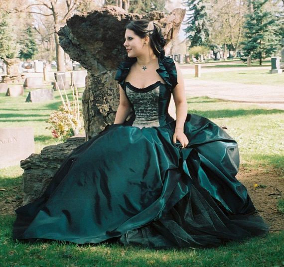 Steampunk - Gothic -Alternative-prom-plus size- custom made-peacock wedding dress-masquerade-halloween-colorado custom wedding gown-the secret boutique by thesecretboutique