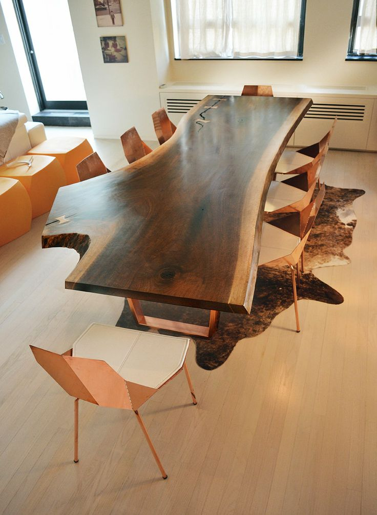 Dining table from fallen reclaimed wood live edge