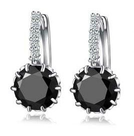 Silver Dangle Earrings With Zirconia (BLACK)