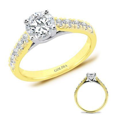 1.75 Ct. tw. Yellow Gold Trellis Engagement Setting with Round Diamond | Your #1 Source for Jewelry and Accessories