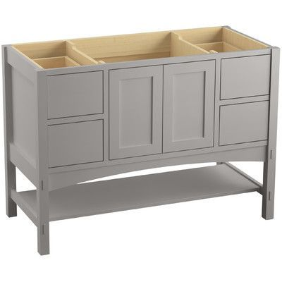 "Kohler Marabou 48"" Vanity with 2 Doors and 4 Drawers, Split Top Drawers Finish: Mohair Grey"