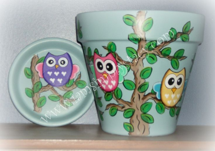 $15.00 Owl Flower Pot