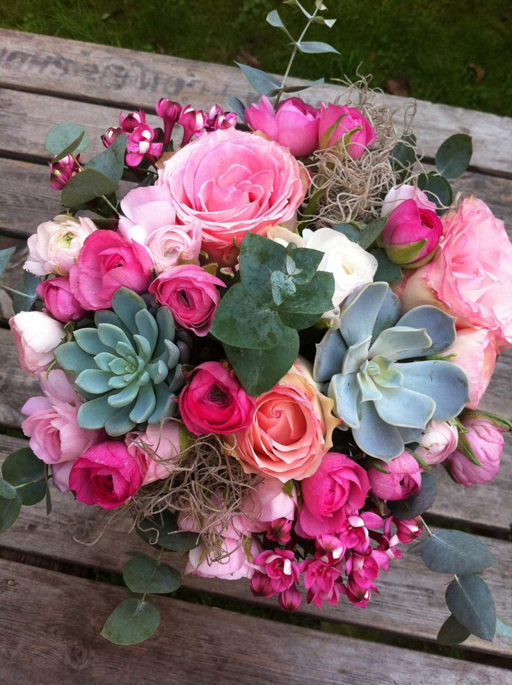 Brides Bouquet Roses and Succulents