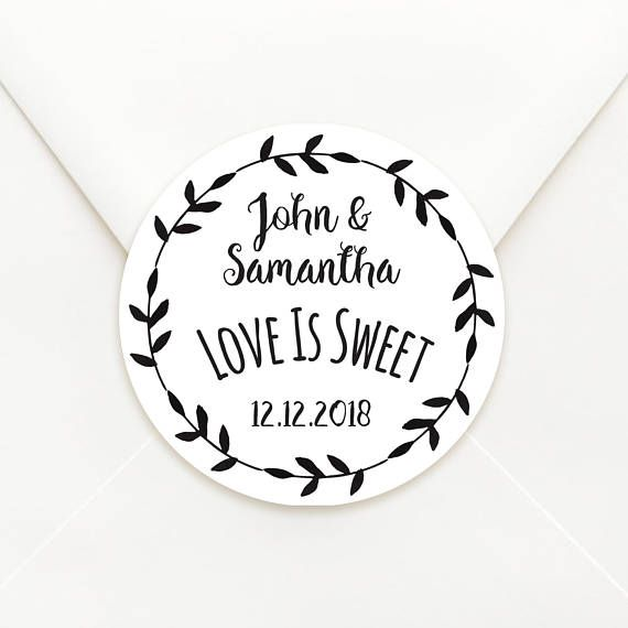 Personalised Circle Wedding Bomboniere Sticker Labels - Choice of Kraft or Matte White Paper - Floral Boarder