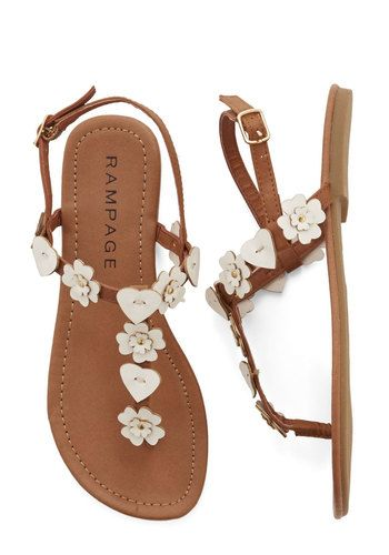 Heartsome and Happy Sandal - Flat, Faux Leather, Tan / Cream, Flower, Casual, Boho, Festival, Summer