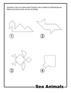 Sea Animals Outline Tangram Card