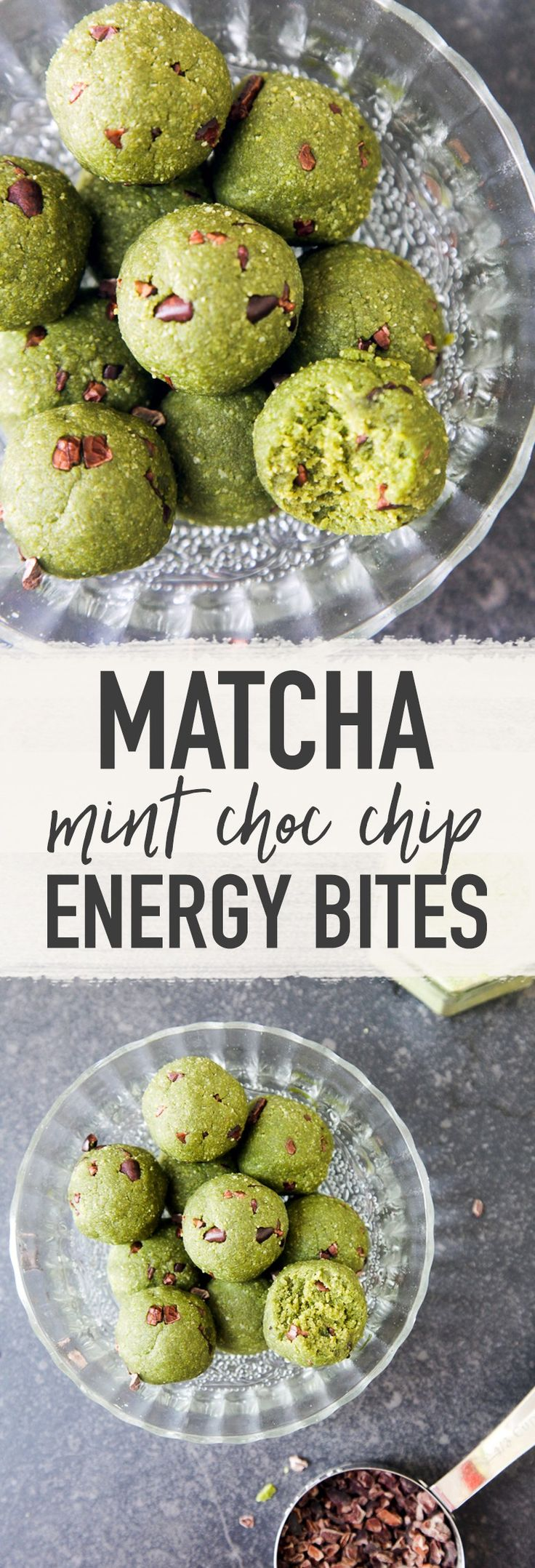 Matcha Mint Chocolate Chip Cookie Dough Bites...I think I'd use vanilla instead of peppermint extract