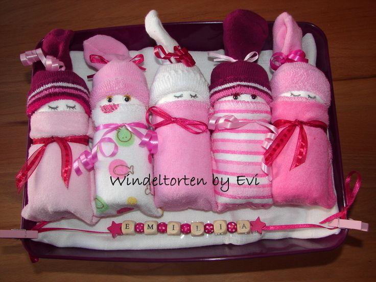 Windelbabys+'Pink',+supersüsse+Windeltorte!+von+Windeltorten+By+Evi+auf+DaWanda.com