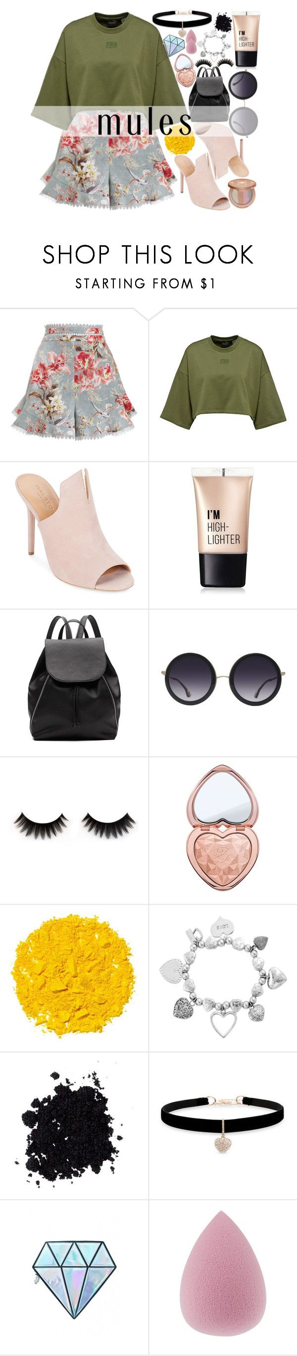 """""""Slip 'Em On: Mules"""" by fangirl-preferences ❤ liked on Polyvore featuring Zimmermann, Halston Heritage, Charlotte Russe, Witchery, Alice + Olivia, Too Faced Cosmetics, Illamasqua, ChloBo, Betsey Johnson and Unicorn Lashes"""