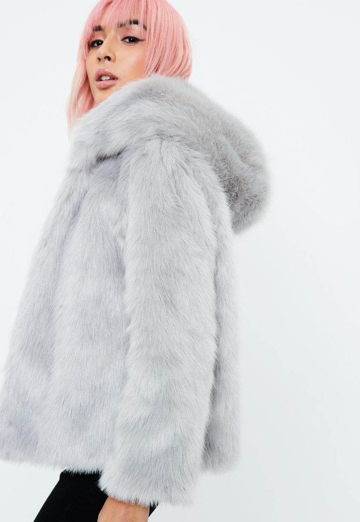 Missguided - Grey Faux Fur Hooded Coat