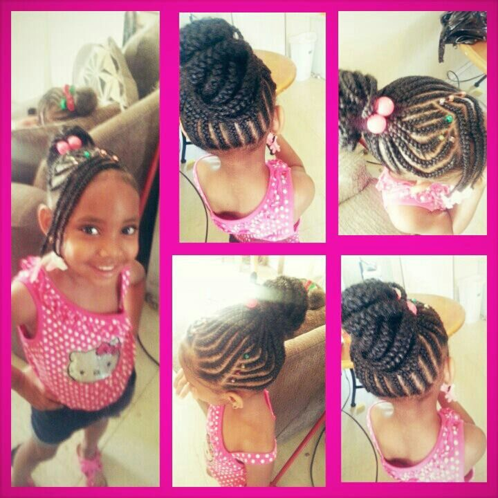 Cute Braided Bun With Beads Buns Braids Hair Styles Little