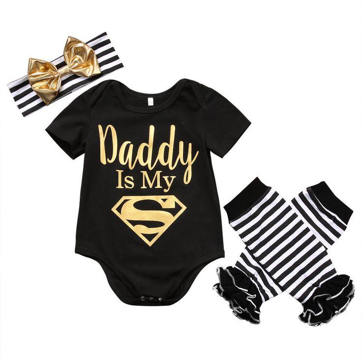 Papa is Mijn Superman Pasgeboren Baby Baby Meisjes Kleren Korte Mouw Romper Gestreepte Legging Warmer Hoofddeksels 3 STKS Outfit Kleding