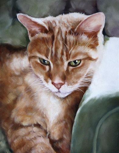"Daily Paintworks - ""GreenEyes"" - Original Fine Art for Sale - © Carolyn McQuarters"