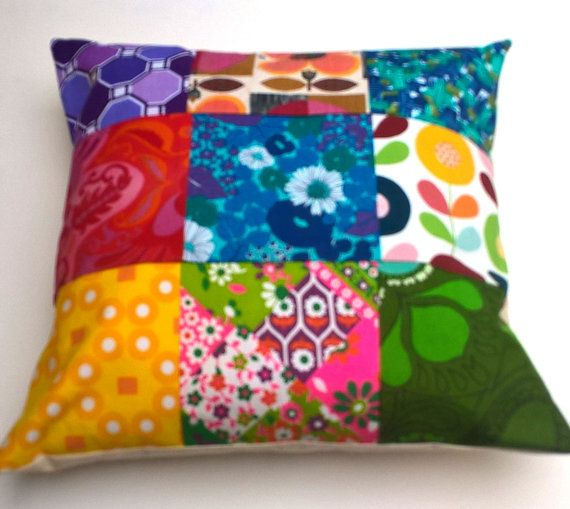 Large Vintage Textile Fabric Cushion. by madebylisajane on Etsy