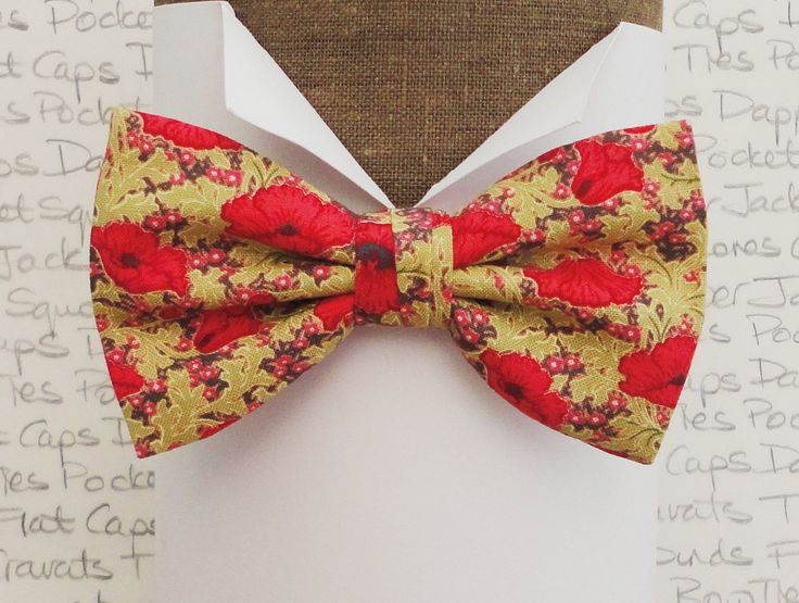 Bow tie, Floral bow tie, Bow ties for men, Red poppies on a pale moss green background, available in self tie or pre tied by DapperJackUK on Etsy