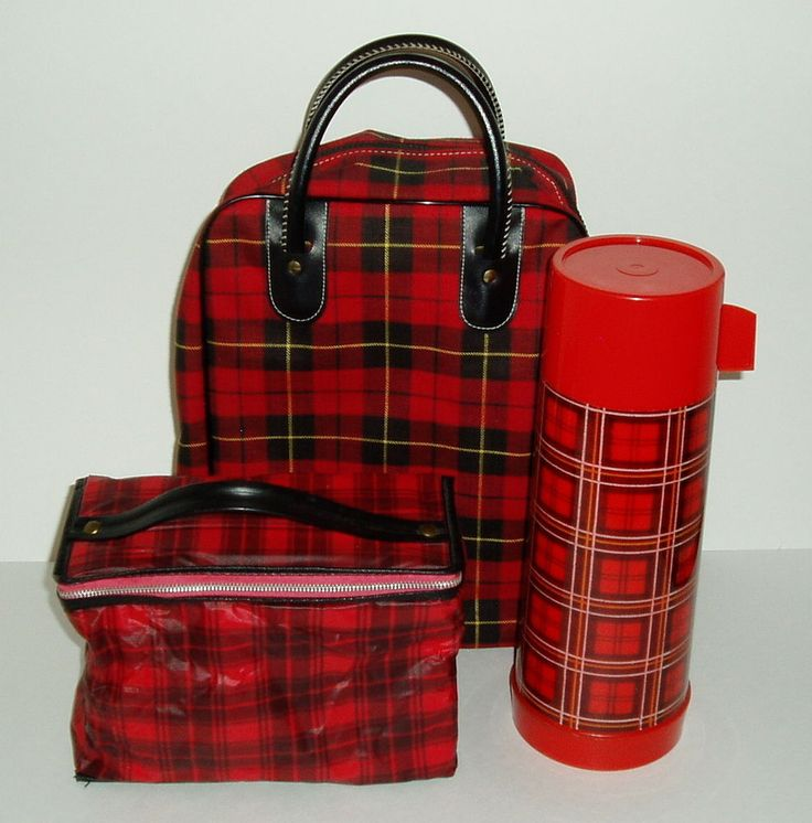 Vintage Aladdin RED PLAID Thermos Bottle Picnic Set Bag Thermal Pouch 3 Pieces