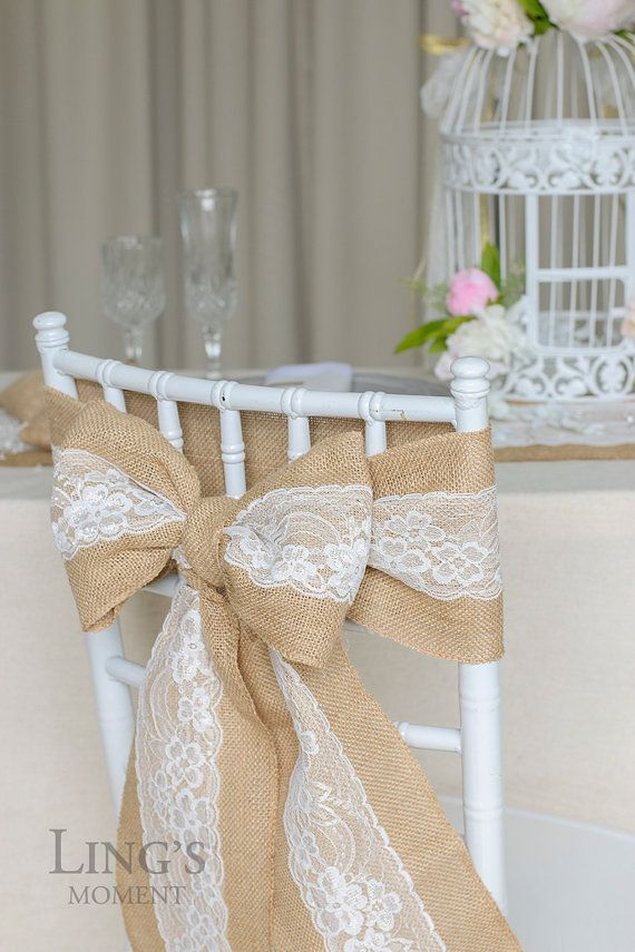Burlap Chair Sash with Lace 6x94 Stitched Edge Pew by LingsWedding