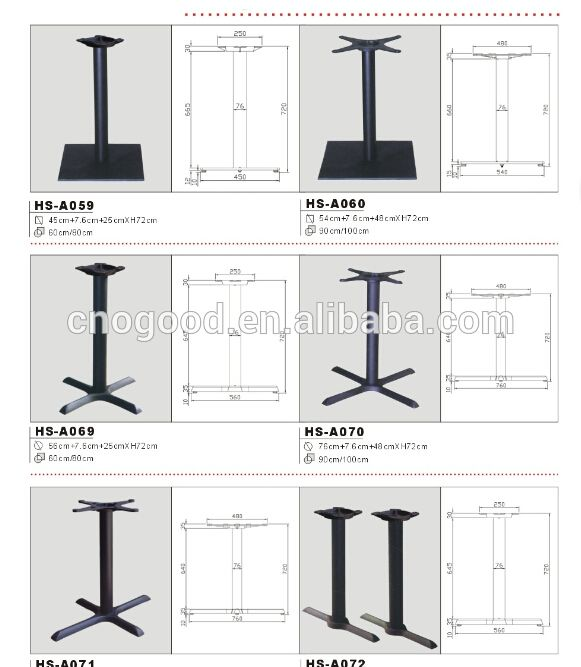 Table base and top-frame contact surface styles: cross