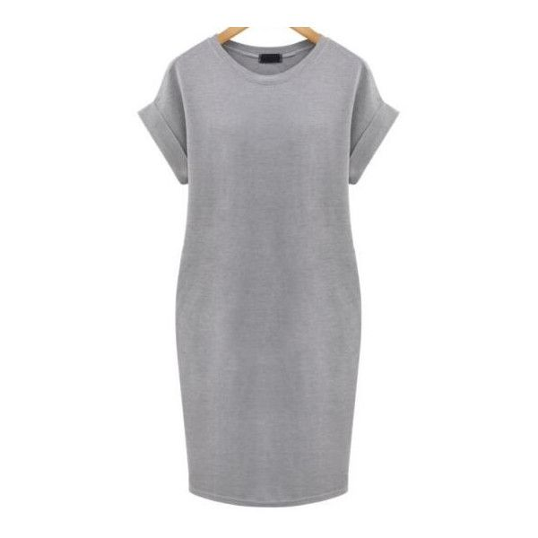 SheIn(sheinside) Grey Cuffed Edge Pockets Plus Dress ($17) ❤ liked on Polyvore featuring plus size fashion, plus size clothing, plus size dresses, grey, gray dress, grey dress, short dresses and summer dresses