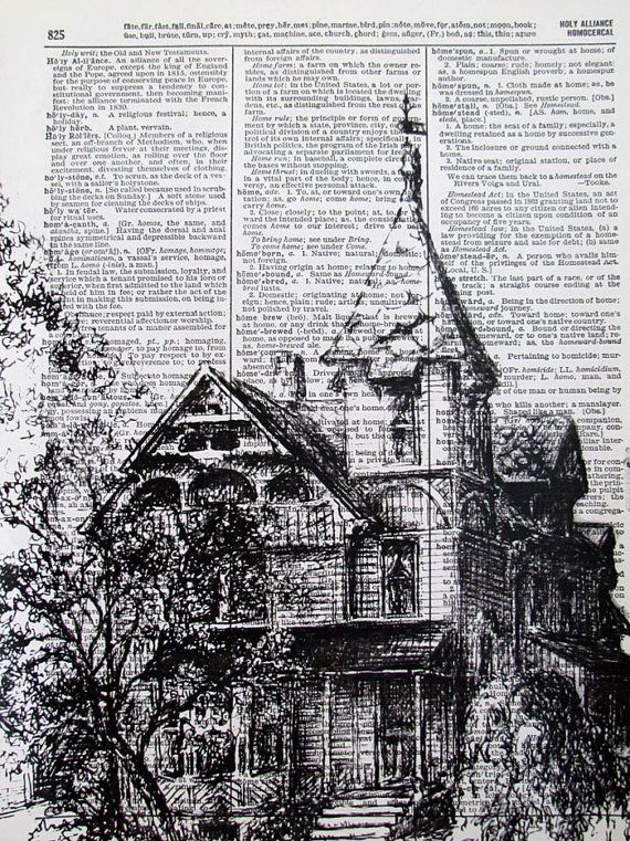American Victorian House, ink drawing I like that it was drawn on a dictionary page. The detail is amazing