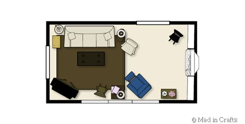 Layout ideas for using or not using an area rug and/or for a long and narrow living room