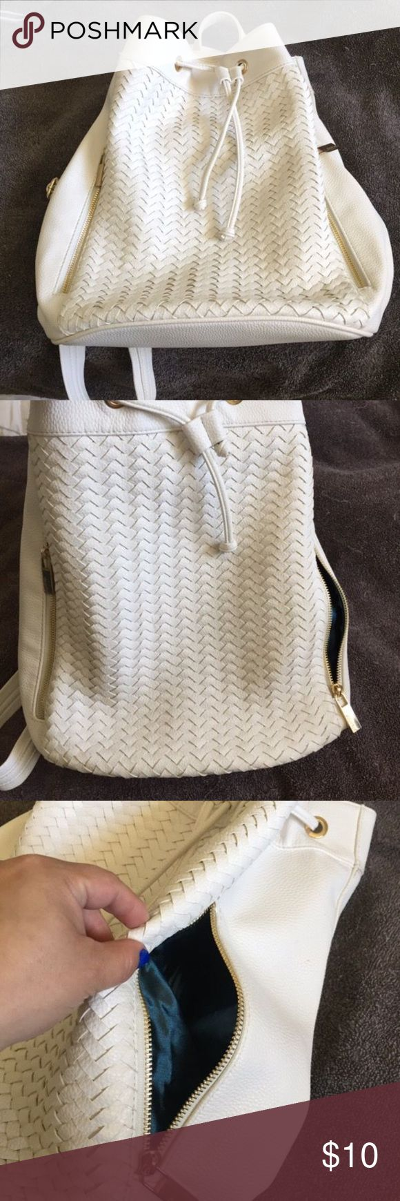 White Backpack White backpack, woven front, eggshell white, satin royal blue inside. Excellent condition. Medium size. Adjustable straps and drawstring closer. Deux Lux Bags Backpacks