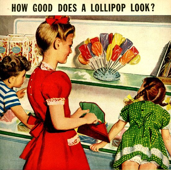vintage 1949 lollipop children advertisement cellophane