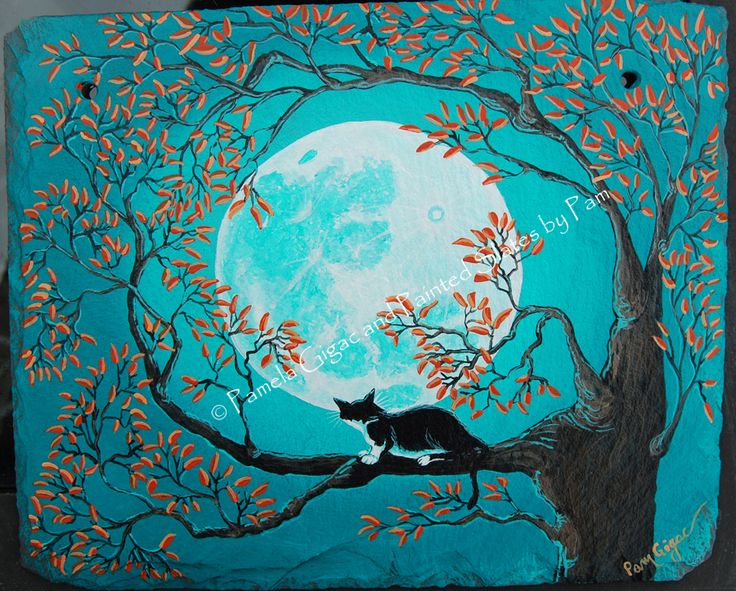 Tuxedo Cat in a tree with a Full Moon - Hand painted on slate. Please see my website for details.