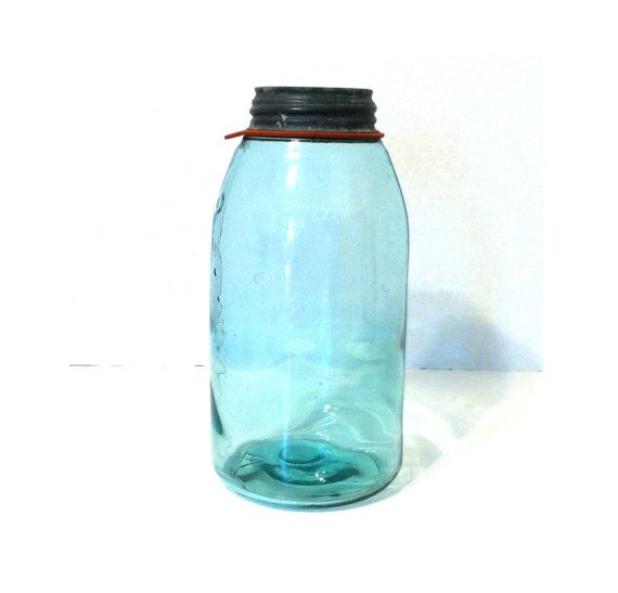 VINTAGE BALL JAR Half Gallon Blue Ball Canning Jar 2 Quart Canning Jar Original Zinc Lid Large Antique Blue Ball Jar Kitchen Storage