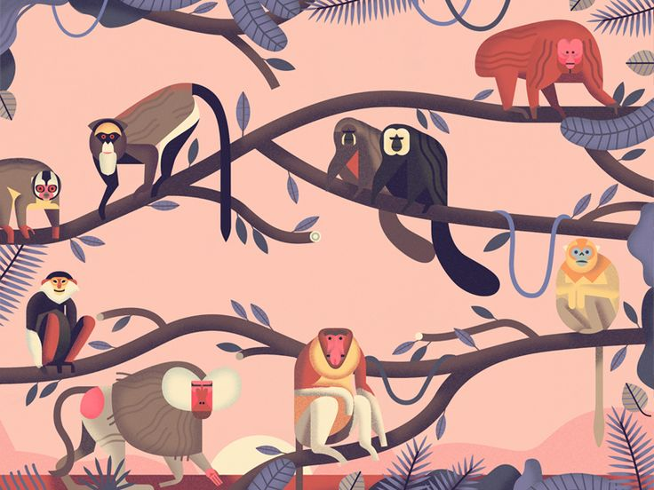 A crop from a page in my picture book 'Mad About Monkeys', available for pre-order now. See more images here: http://www.owendavey.com/Mad-about-Monkeys