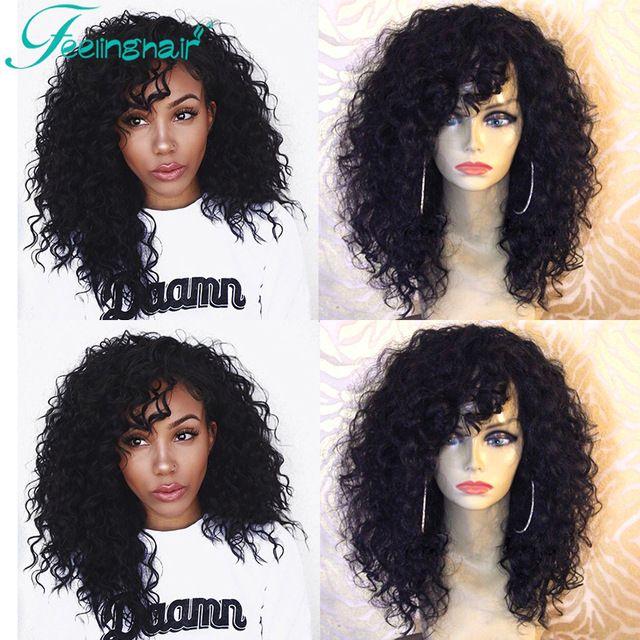 Court Bouclés Avant de Lacet Perruques de Cheveux Humains 100% Remy Indiens cheveux Full Lace Perruques Avec Une Frange Cheveux Naturels Dentelle Perruques Vierge cheveux