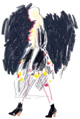 John Rocha AW14; British Fashion Council collaboration with Damien Cuypers #fashion #fashionillustartion #lfw