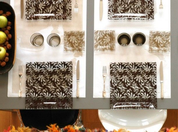Restaurant table setting with brown square glass plates with floral design   By Glass Studio26 best Table setting rules images on Pinterest   Kitchen  Tables  . Fine Dining Table Service Rules. Home Design Ideas