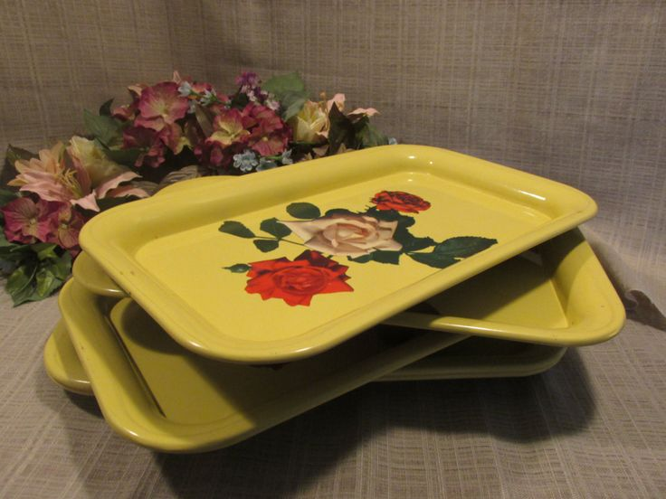 5 Vintage Metal Serving Trays, Mid Century 1950's TV Trays, Cottage Chic, French Country, Yellow Lap Trays, Victorian Pink and Red Roses by ClassicMontage on Etsy