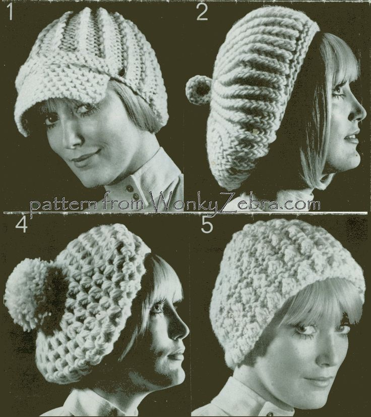 WZ437 a set of crochet and knitted hat patterns from the seventies. It was printed on the back of a ball band so you could make them instantly!