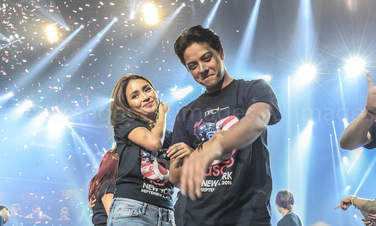 Here is the pretty Kathryn Bernardo and the handsome Daniel Padilla smiling for the camera after the final production number of ASAP Live in New York at the Barclays Center, Brooklyn, New York, U.S.A. last September 3, 2016. They're very nice, indeed... :-)