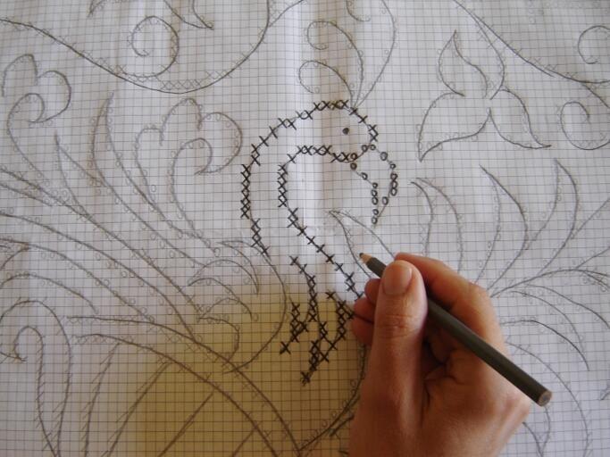 Passo 01: GRÁFICO Antes de tudo é preciso que você traçe seu desenho,Você precisa transformar o seu gráfico semelhante os que são feitos para ponto e cruz.