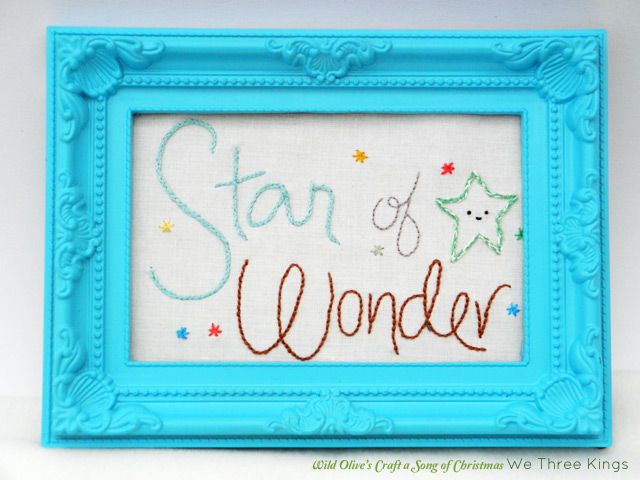 Wild Olive's Craft a Song of Christmas: Star of Wonder Embroidery Pattern (drawn by me...stitched by Susi!)